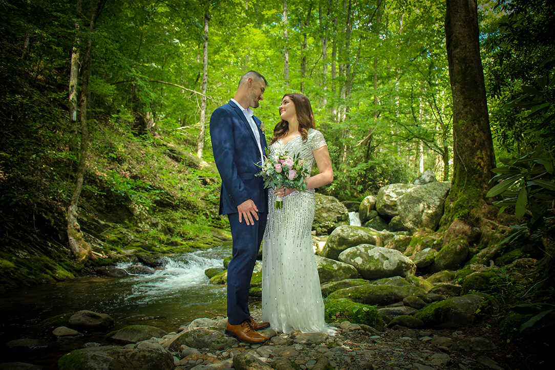 Couple elopes at private creekside in Gatlinburg, TN